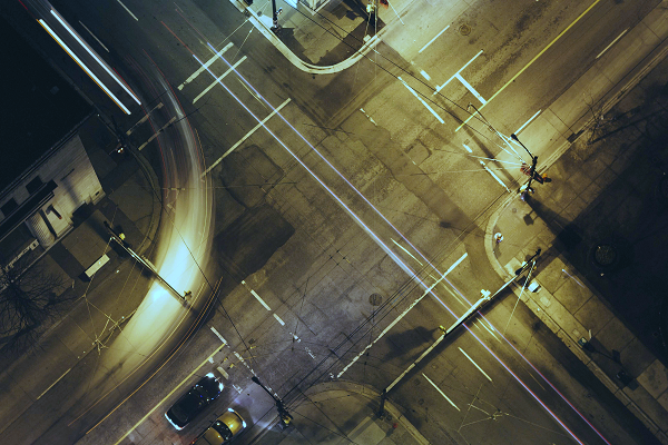 Time lapse image of street intersection from directly above
