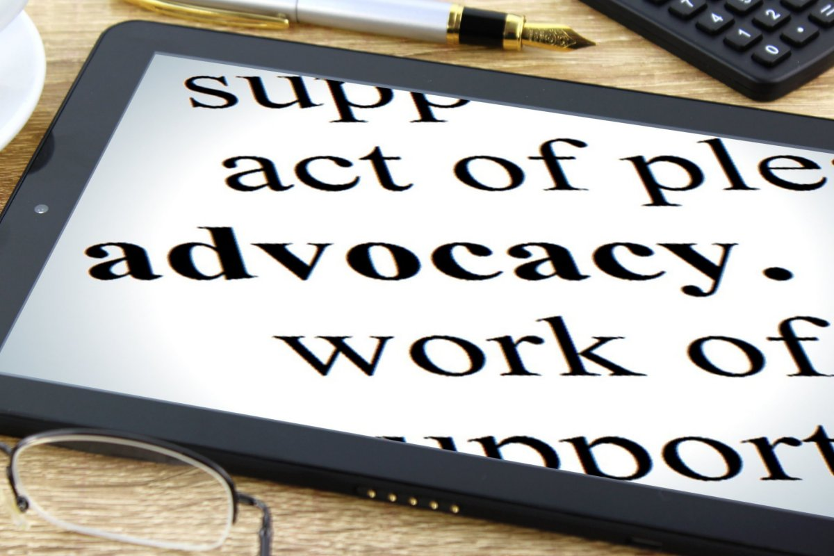 tablet computer showing partial definition of advocacy
